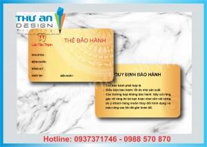 In thẻ bảo hành - phiếu bảo hành giá rẻ tại Ngã Tư Sở