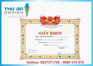 In giấy khen giá rẻ chất lượng Hà Nội, In giấy khen Láng Hạ